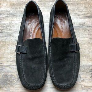 Antonio Bossi men's black suede driving loafers